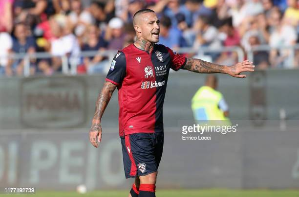 Radja Nainggolan of Cagliari reacts during the Serie A match between Cagliari Calcio and SPAL at Sardegna Arena on October 20, 2019 in Cagliari,...