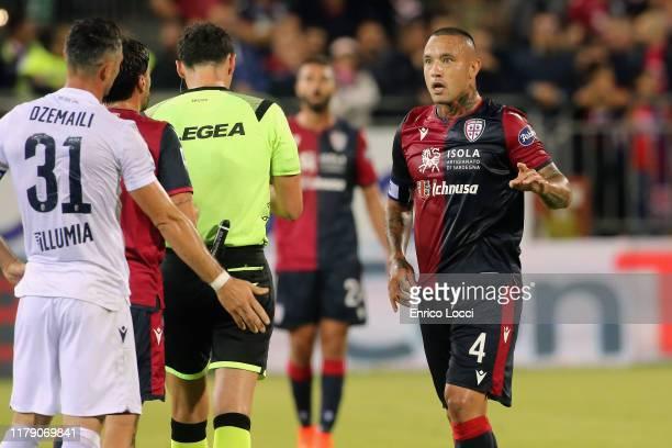 Radja Nainggolan of Cagliari reacts during the Serie A match between Cagliari Calcio and Bologna FC at Sardegna Arena on October 30 2019 in Cagliari...