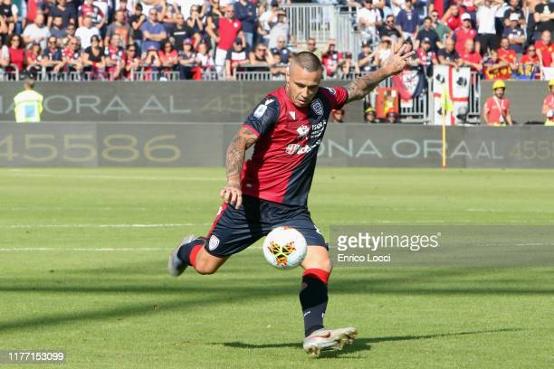 Radja Nainggolan of Cagliari scores his goal 10 during the Serie A match between Cagliari Calcio and SPAL at Sardegna Arena on October 20 2019 in...
