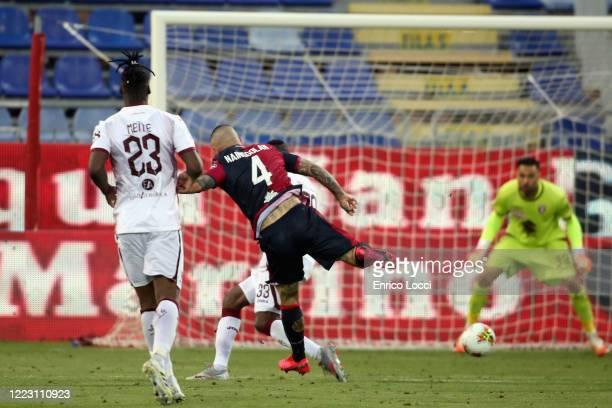 Radja Nainggolan of Cagliari scores his goal 30 during the Serie A match between Cagliari Calcio and Torino FC at Sardegna Arena on June 27 2020 in...