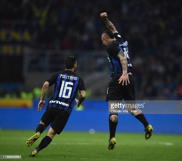 Radja Nainggolan of FC Internazionale celebrates with Matteo Politano after scoring the opening goal during the Serie A match between FC...
