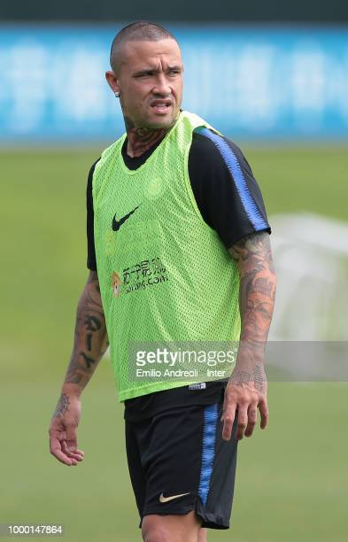Radja Nainggolan of FC Internazionale looks on during the FC Internazionale training session at the club's training ground Suning Training Center in...
