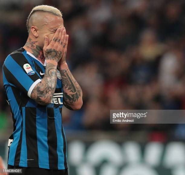 Radja Nainggolan of FC Internazionale reacts after misses a chance of a goal during the Serie A match between FC Internazionale and Empoli FC at...
