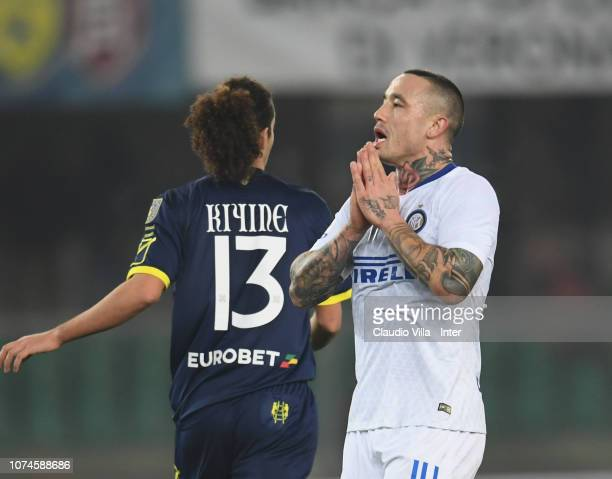 Radja Nainggolan of FC Internazionale reacts during the Serie A match between Chievo Verona and FC Internazionale at Stadio Marc'Antonio Bentegodi on...