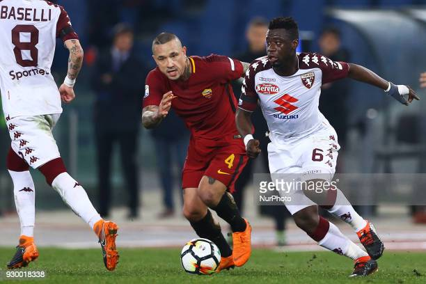 Radja Nainggolan of Roma and Afriyie Acquah of Torino during the Italian Serie A football match between AS Roma and FC Torino at the Olympic Stadium...