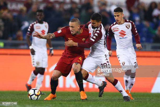 Radja Nainggolan of Roma and Tomas Rincon of Torino during the Italian Serie A football match between AS Roma and FC Torino at the Olympic Stadium in...