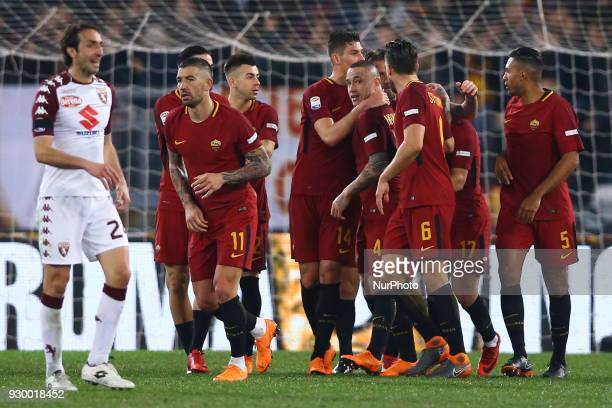 Radja Nainggolan of Roma celebrates with the teammates during the Italian Serie A football match between AS Roma and FC Torino at the Olympic Stadium...