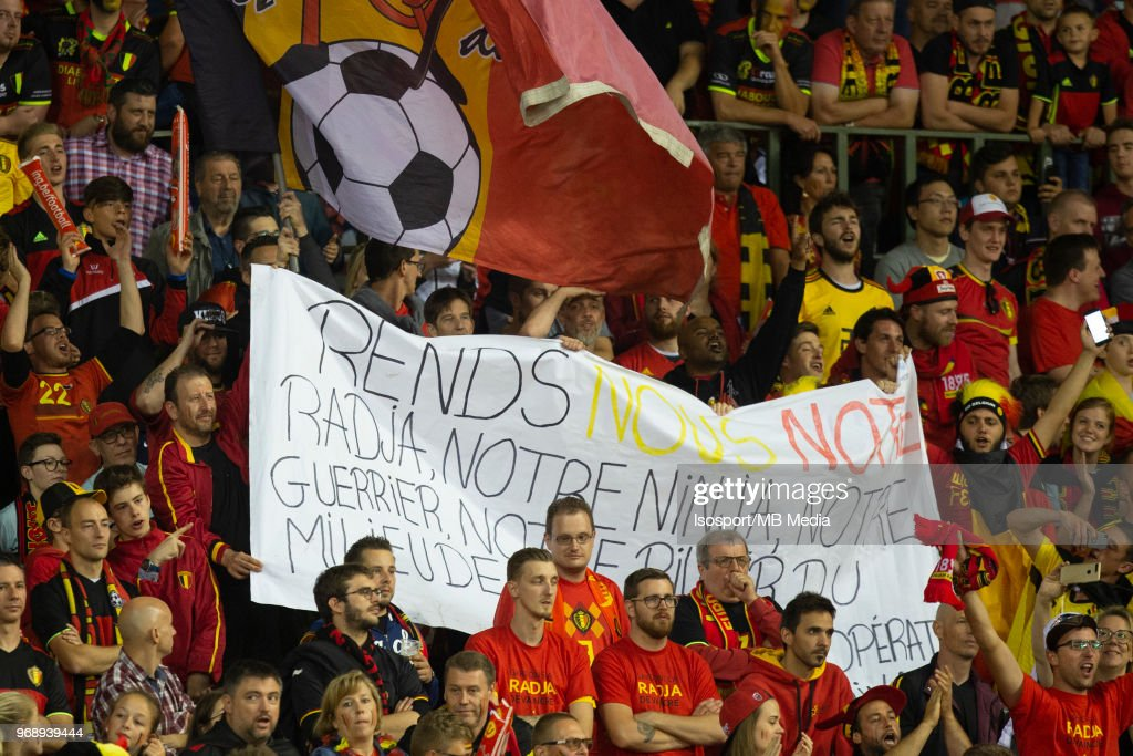 Radja Nainggolan Supporters during a friendly game between Belgium and Portugal , as part of preparations for the 2018 FIFA World Cup in Russia, on June 2, 2018 in Brussels, Belgium. Photo by Frank Abbeloos - Isosport