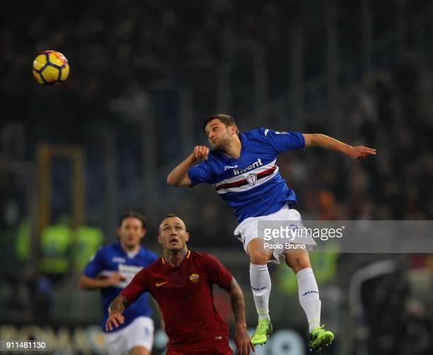 Radja Nainngolan of AS Roma competes for the ball with Bartsz Bereszynski of UC Sampdoria during the Serie A match between AS Roma and UC Sampdoria...