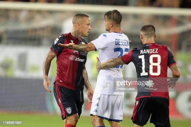 Radja Nainngolan of Cagliari reacts during the Serie A match between Cagliari Calcio and Brescia Calcio at Sardegna Arena on August 25 2019 in...