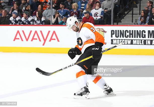 Radko Gudas of the Philadelphia Flyers celebrates after scoring a goal against the Colorado Avalanche at the Pepsi Center on March 24 2016 in Denver...
