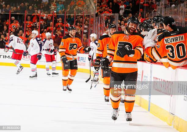 Radko Gudas of the Philadelphia Flyers celebrates his goal against Curtis McElhinney of the Columbus Blue Jackets during their game at the Wells...