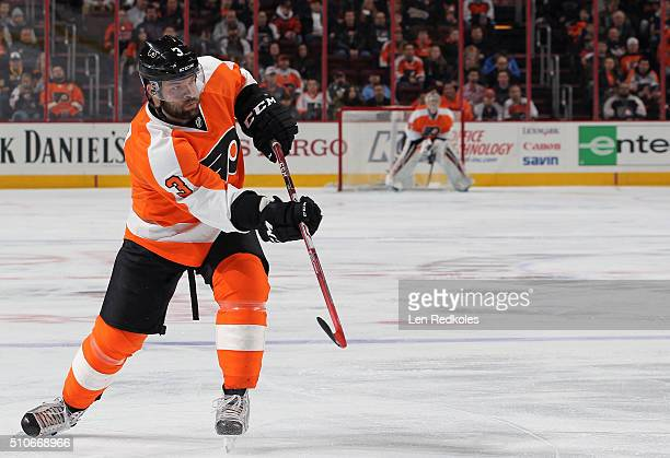 Radko Gudas of the Philadelphia Flyers completes a pass against the Buffalo Sabres on February 11 2016 at the Wells Fargo Center in Philadelphia...