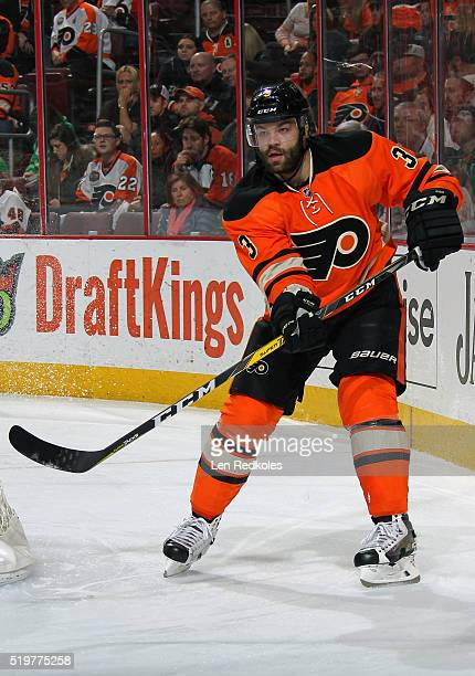 Radko Gudas of the Philadelphia Flyers completes a pass from behind the net against the Washington Capitals on March 30 2016 at the Wells Fargo...
