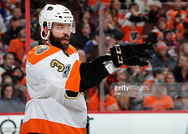 Radko Gudas of the Philadelphia Flyers directs his teammates before a face off against the Tampa Bay Lightning on January 7 2017 at Wells Fargo...