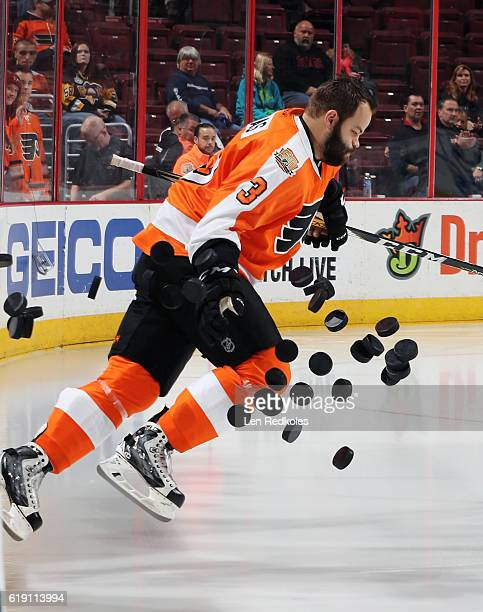 Radko Gudas of the Philadelphia Flyers enters the ice surface during warmups prior to his game against the Pittsburgh Penguins on October 29 2016 at...