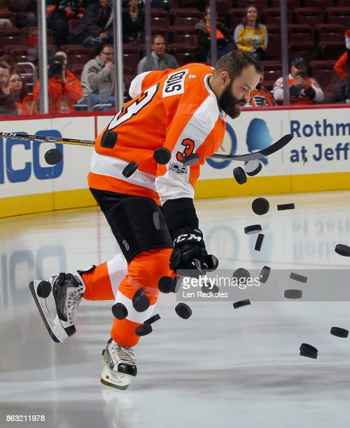 Radko Gudas of the Philadelphia Flyers enters the ice surface during warmups prior to his game against the Nashville Predators on October 19 2017 at...