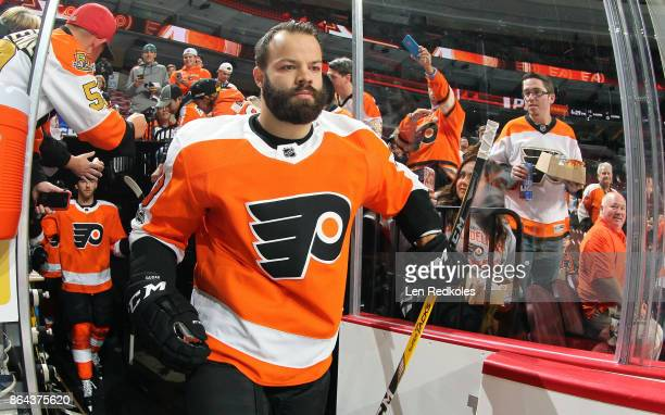 Radko Gudas of the Philadelphia Flyers enters the ice surface for warmups against the Florida Panthers on October 17 2017 at the Wells Fargo Center...