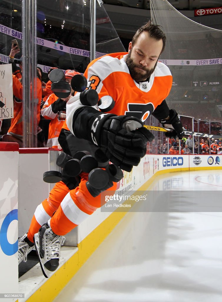 Radko Gudas #3 of the Philadelphia Flyers enters the ice surface for warmups prior to his game against the Buffalo Sabres on January 7, 2018 at the Wells Fargo Center in Philadelphia, Pennsylvania.