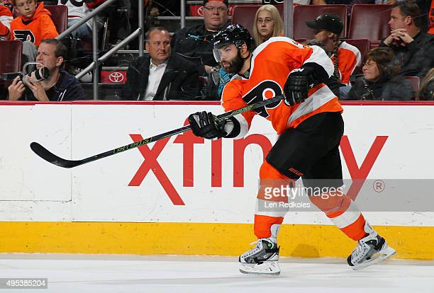 Radko Gudas of the Philadelphia Flyers follows through on a pass against the Buffalo Sabres on October 27 2015 at the Wells Fargo Center in...