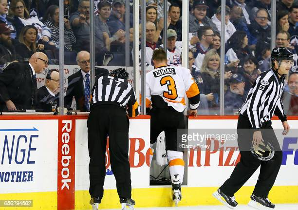Radko Gudas of the Philadelphia Flyers heads into the penalty box for a two minute minor penalty during third period action against the Winnipeg Jets...