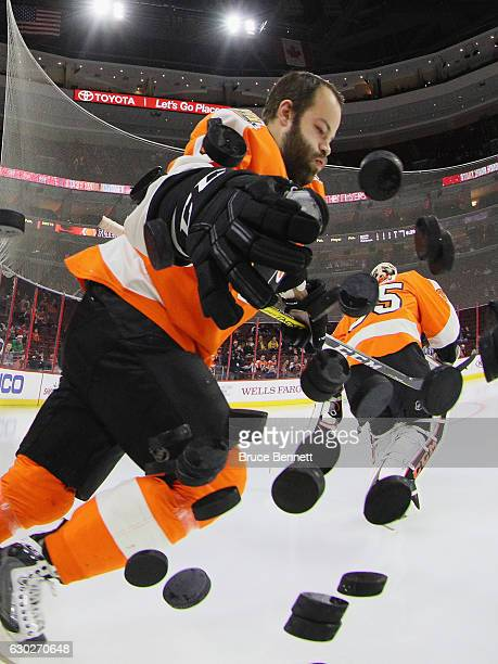Radko Gudas of the Philadelphia Flyers heads out for warmups prior to the game against the Nashville Predators at the Wells Fargo Center on December...