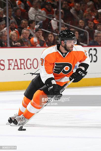 Radko Gudas of the Philadelphia Flyers in action against the Montreal Canadiens during the first period at Wells Fargo Center on February 2 2016 in...