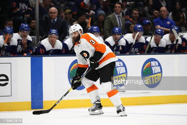 Radko Gudas of the Philadelphia Flyers in action against the ni during their game at NYCB Live's Nassau Coliseum on March 03 2019 in Uniondale New...