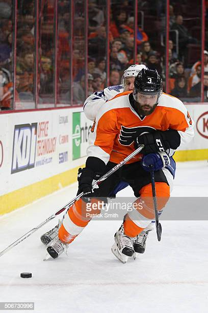 Radko Gudas of the Philadelphia Flyers in action against the Toronto Maple Leafs during the third period at Wells Fargo Center on January 19 2016 in...