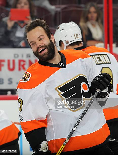 Radko Gudas of the Philadelphia Flyers laughs during warmups prior to the start of his game against the Tampa Bay Lightning on January 7 2017 at the...