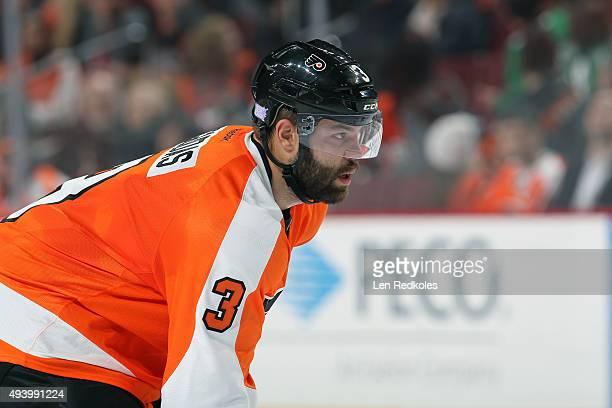 Radko Gudas of the Philadelphia Flyers looks on against the Dallas Stars on October 20 2015 at the Wells Fargo Center in Philadelphia Pennsylvania