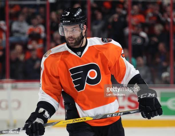 Radko Gudas of the Philadelphia Flyers looks on against the New York Islanders on March 30 2017 at the Wells Fargo Center in Philadelphia Pennsylvania