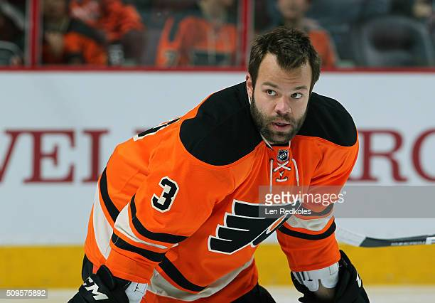 Radko Gudas of the Philadelphia Flyers looks on during warmups prior to his game against the New York Rangers on February 6 2016 at the Wells Fargo...