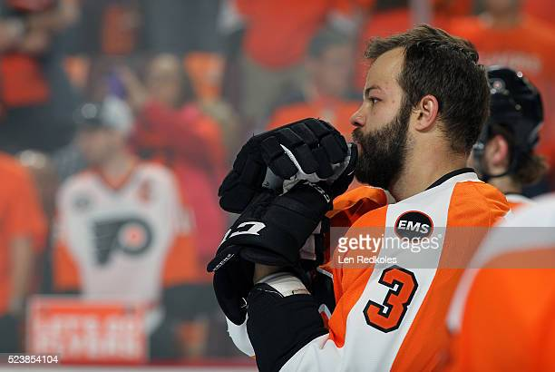 Radko Gudas of the Philadelphia Flyers looks on during warmups prior to his game against the Washington Capitals in Game Three of the Eastern...