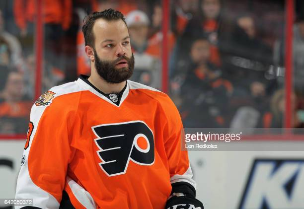 Radko Gudas of the Philadelphia Flyers looks on during warmups prior to his game against the New York Islanders on February 9 2017 at the Wells Fargo...
