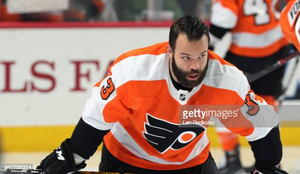 Radko Gudas of the Philadelphia Flyers looks on during warmups against the Boston Bruins on April 1 2018 at the Wells Fargo Center in Philadelphia...