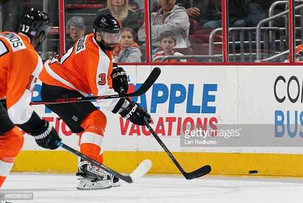 Radko Gudas of the Philadelphia Flyers passes the puck against the Buffalo Sabres on October 27 2015 at the Wells Fargo Center in Philadelphia...