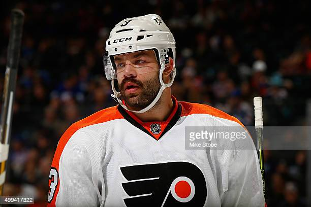 Radko Gudas of the Philadelphia Flyers skates against the New York Islanders at the Barclays Center on November 25 2015 in Brooklyn borough of New...