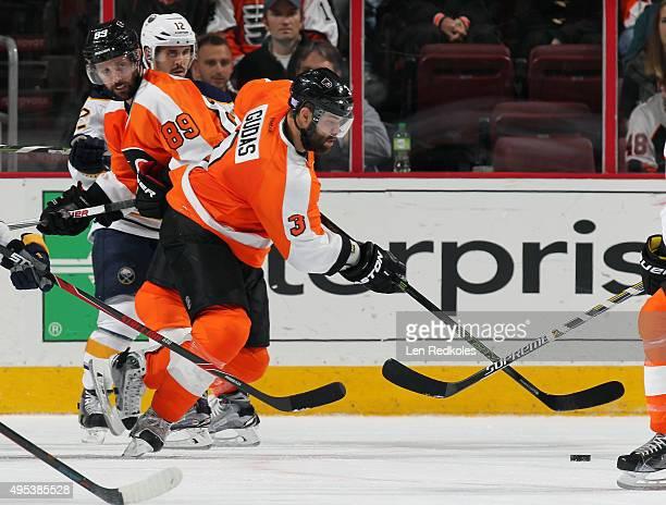 Radko Gudas of the Philadelphia Flyers skates the puck against the Buffalo Sabres on October 27 2015 at the Wells Fargo Center in Philadelphia...
