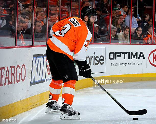 Radko Gudas of the Philadelphia Flyers takes the puck against the Vancouver Canucks on December 17 2015 at the Wells Fargo Center in Philadelphia...