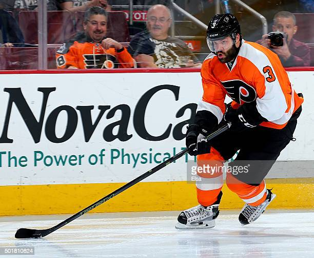 Radko Gudas of the Philadelphia Flyers takes the puck in the second period against the Vancouver Canucks on December 17 2015 at the Wells Fargo...