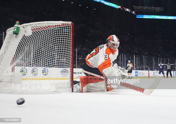 Radko Gudas of the Philadelphia Flyers tends the net against the New York Islanders during their game at NYCB Live's Nassau Coliseum on March 03 2019...
