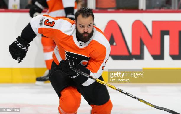 Radko Gudas of the Philadelphia Flyers warms up against the Florida Panthers on October 17 2017 at the Wells Fargo Center in Philadelphia Pennsylvania