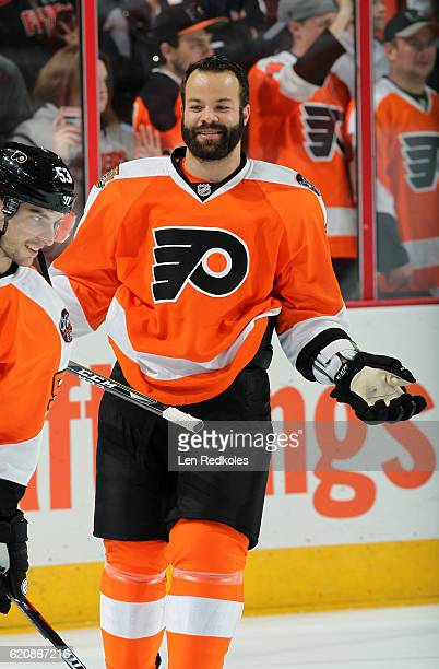 Radko Gudas of the Philadelphia Flyers warms up prior to his game against the Pittsburgh Penguins on October 29 2016 at the Wells Fargo Center in...