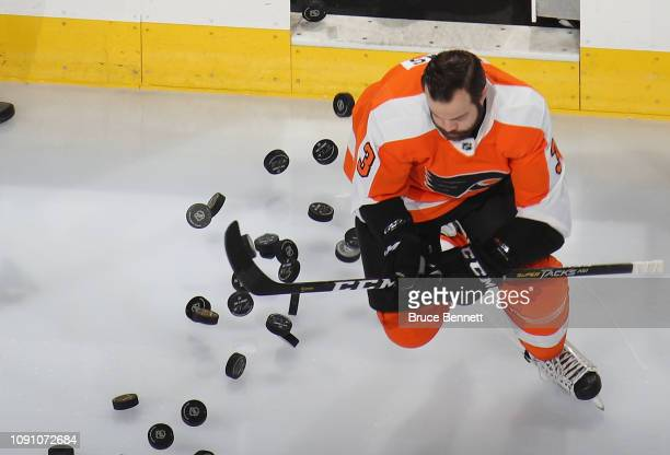 Radko Gudas of the St Louis Blues skates out for warmups prior to the game against the St Louis Blues at the Wells Fargo Center on January 07 2019 in...