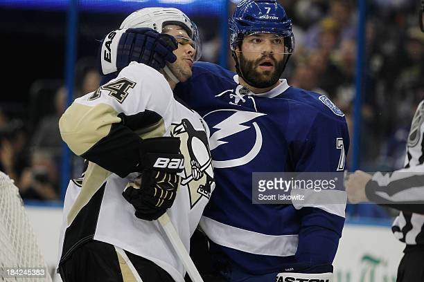 Radko Gudas of the Tampa Bay Lightning gets a penalty for roughing Chris Kunitz of the Pittsburgh Penguins during the first period at Tampa Bay Times...
