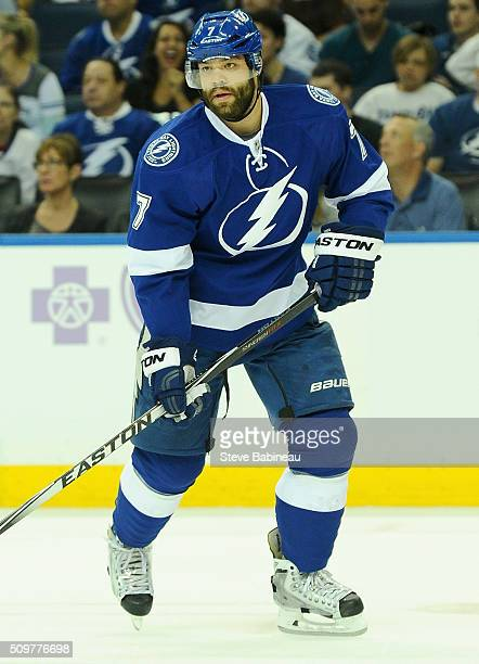 Radko Gudas of the Tampa Bay Lightning plays in the game against the Arizona Coyotes at Amalie Arena on October 28 2014 in Tampa Florida