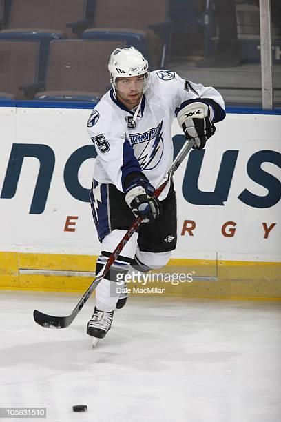 Radko Gudas of the Tampa Bay Lightning skates against the Edmonton Oilers on September 23 2010 at Rexall Place in Edmonton Alberta Canada