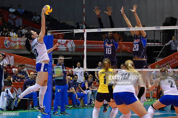 Radmila Beresneva of Kazakhstan spikes the ball during the Women's World Olympic Qualification game between Italy and Kazakhstan at Tokyo...