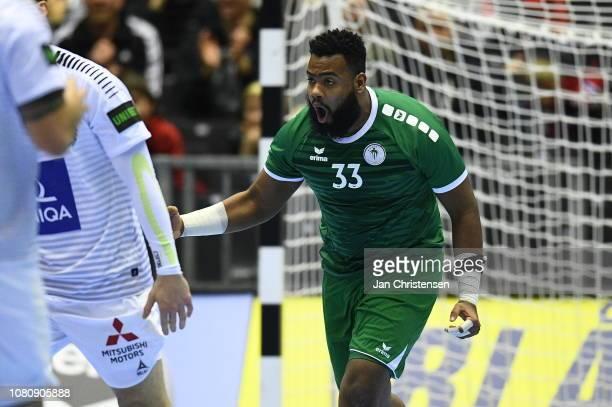 Radnah Adnan of SaudiArabia celebrate after goal during the IHF Men's World Championships Handball match between Saudi Arabia and Austria in Jyske...